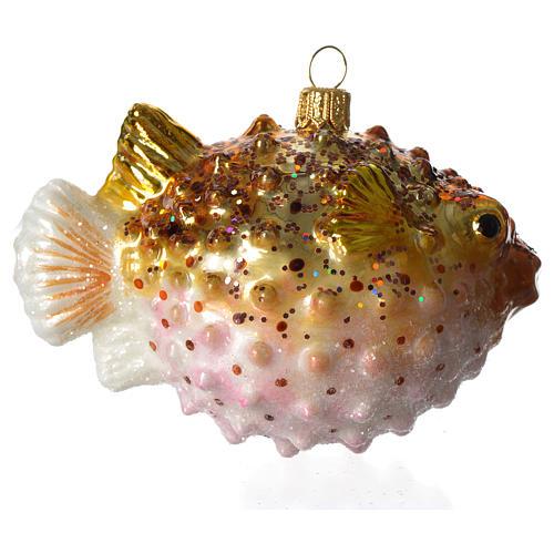 Baiacu adorno vidro soprado para árvore Natal 3