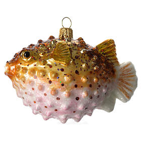 Puffer Fish Christmas ornament blown glass s1
