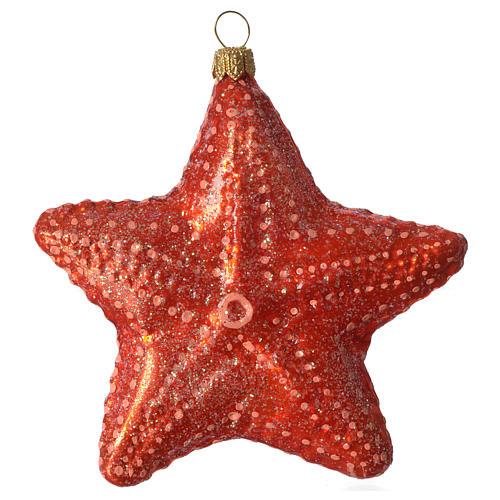 Estrella de mar adorno vidrio soplado Árbol Navidad 3