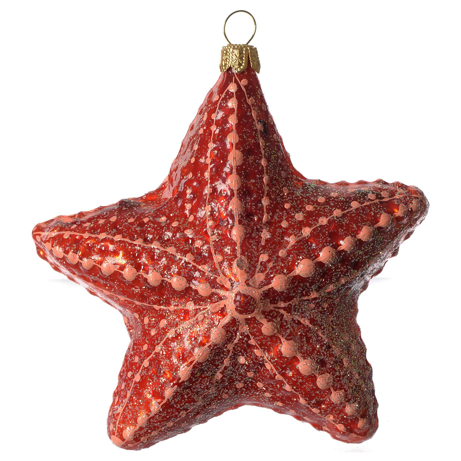 Étoile de mer décoration verre soufflé Sapin Noël 4