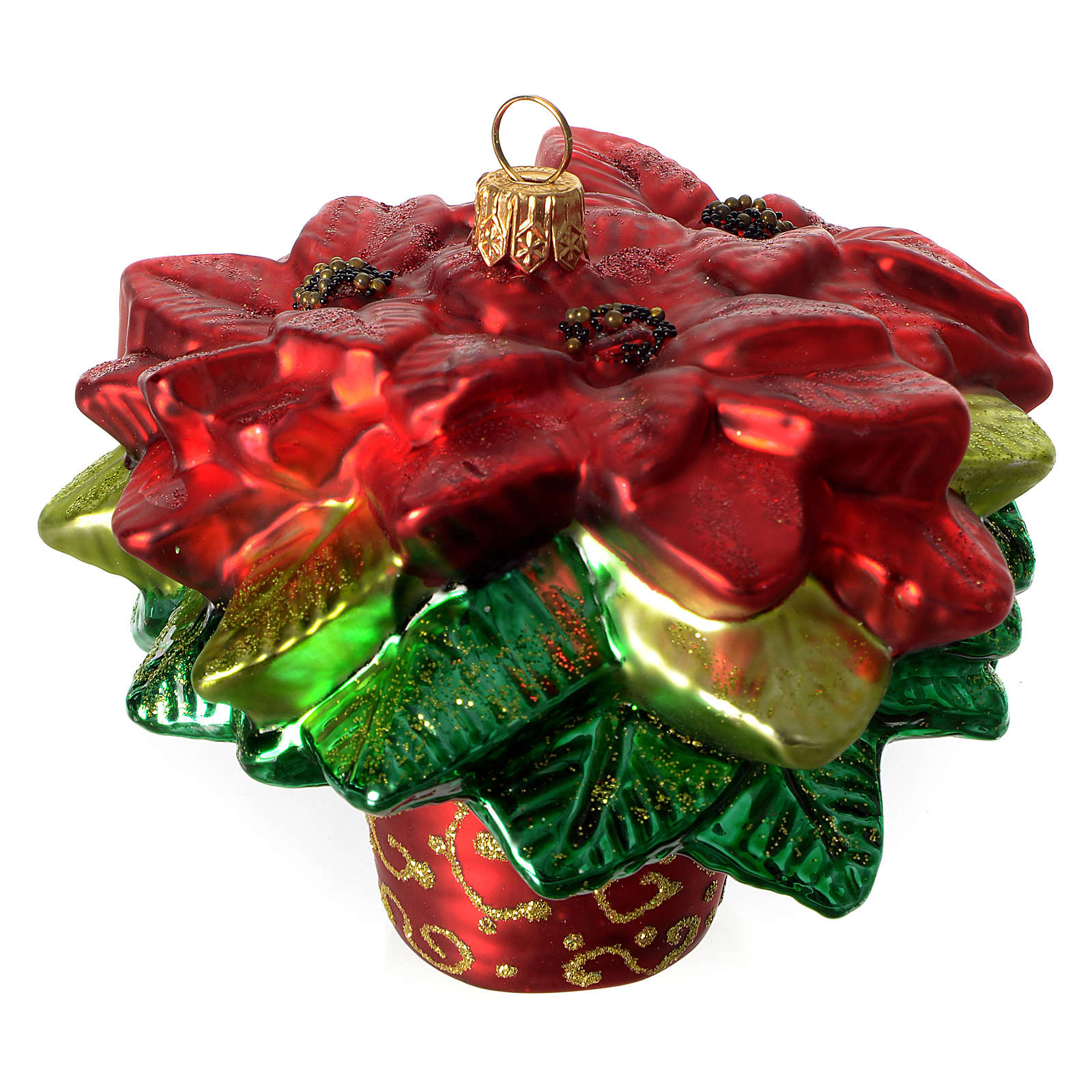poinsettia christmas tree decoration in blown glass 4