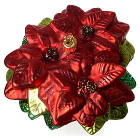 Poinsettia, Christmas tree decoration in blown glass s3
