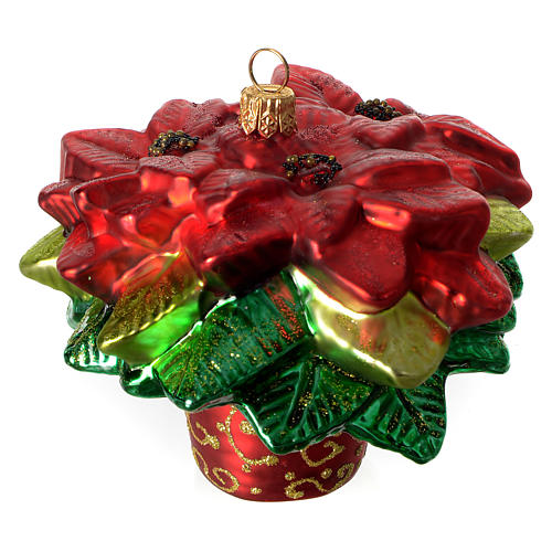 Poinsettia, Christmas tree decoration in blown glass 1
