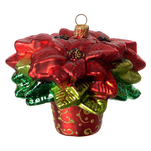 Poinsettia, Christmas tree decoration in blown glass 2