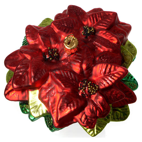 Poinsettia, Christmas tree decoration in blown glass 3