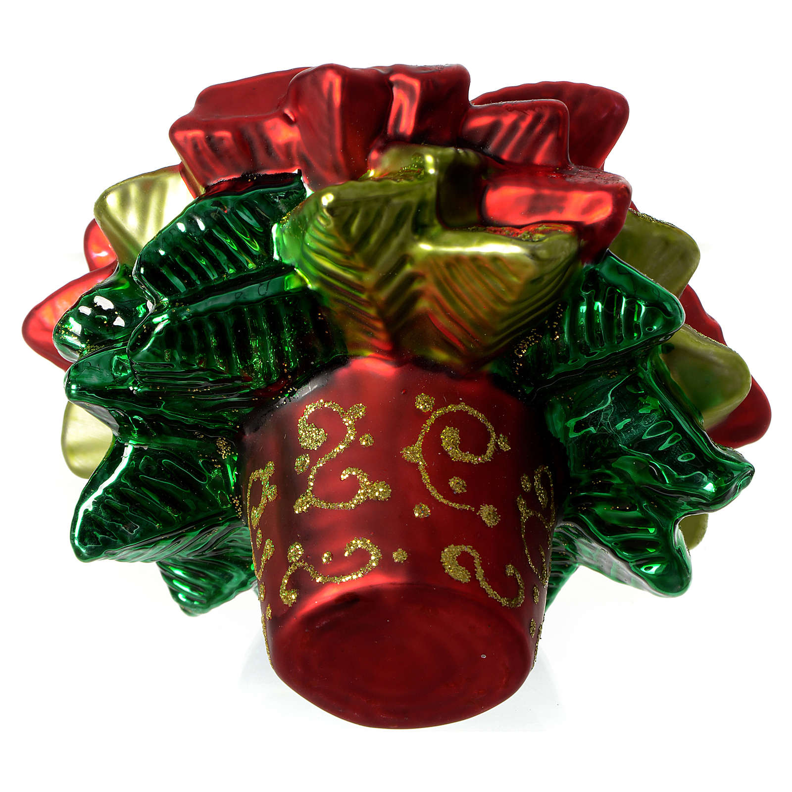 Pointsetta Christmas Tree.Poinsettia Christmas Tree Decoration Blown Glass