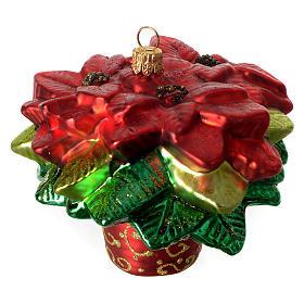 Poinsettia Christmas tree decoration blown glass s1