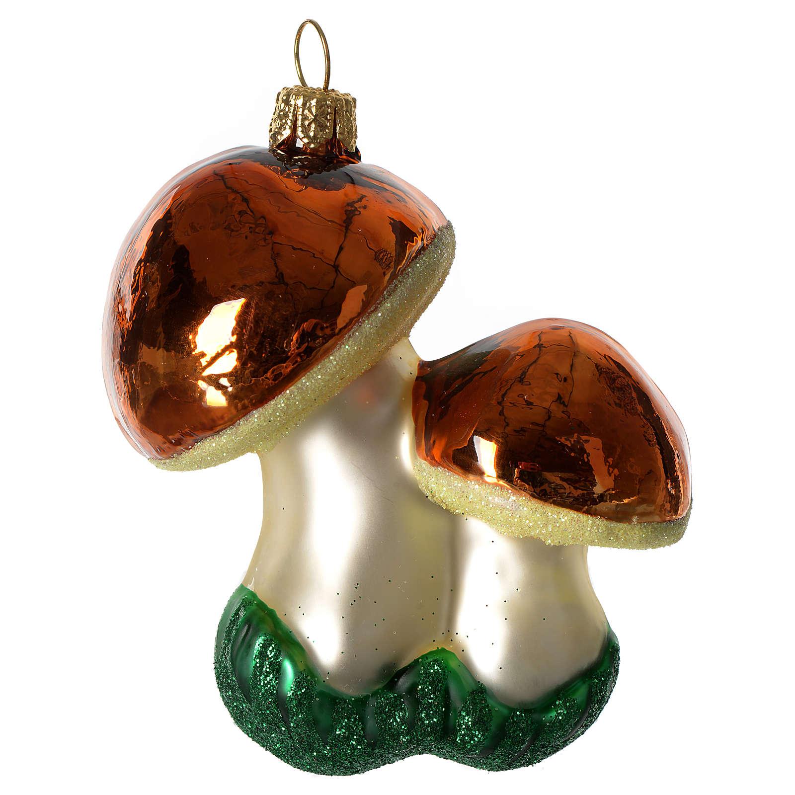 Champignons décoration verre soufflé Sapin Noël 4
