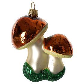 Champignons décoration verre soufflé Sapin Noël s1