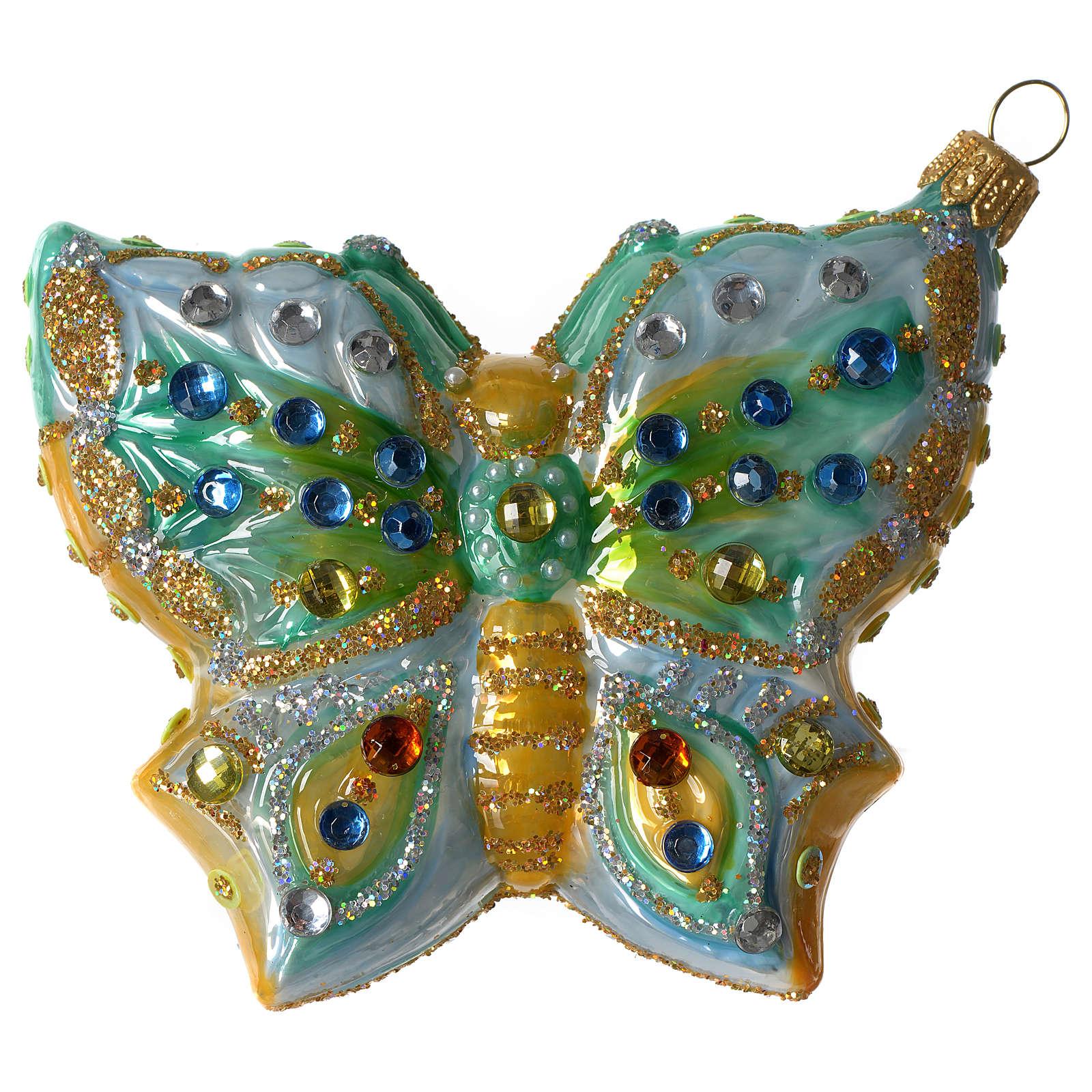 Mariposa adorno vidrio soplado Árbol Navidad 4