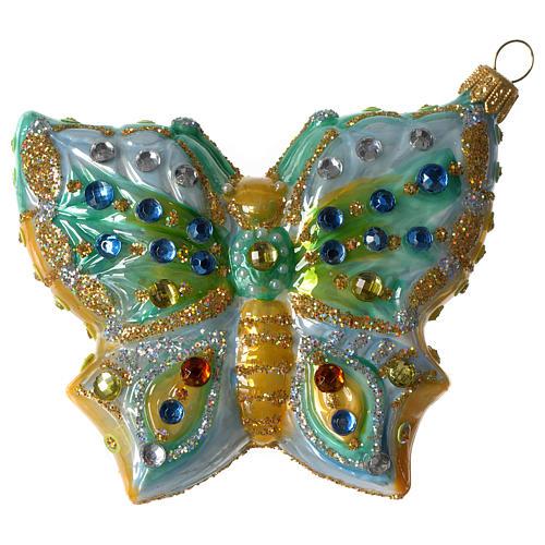Mariposa adorno vidrio soplado Árbol Navidad 1