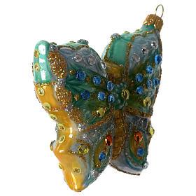 Borboleta adorno em vidro soprado para árvore Natal s2