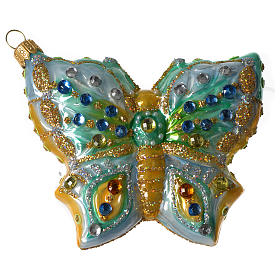 Butterfly Christmas tree blown glass decoration s3