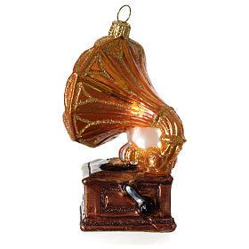 Grammofono addobbo vetro soffiato Albero Natale s4
