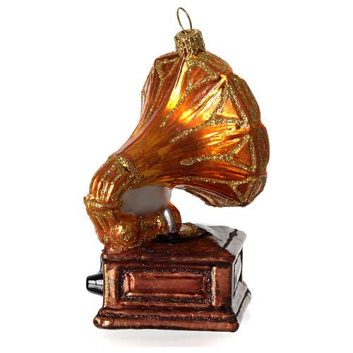 Grammofono addobbo vetro soffiato Albero Natale 3