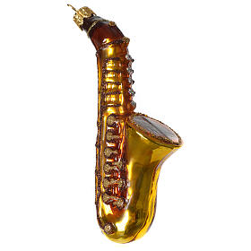 Saxophone décoration verre soufflé Sapin Noël s1