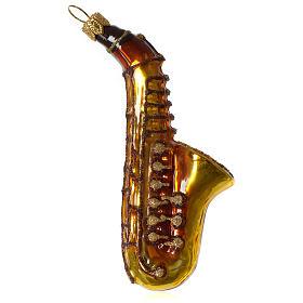 Saxophone décoration verre soufflé Sapin Noël s2