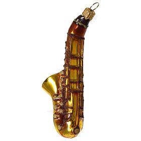 Saxophone décoration verre soufflé Sapin Noël s3
