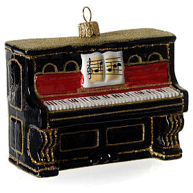 Piano, Christmas tree decoration in blown glass s2