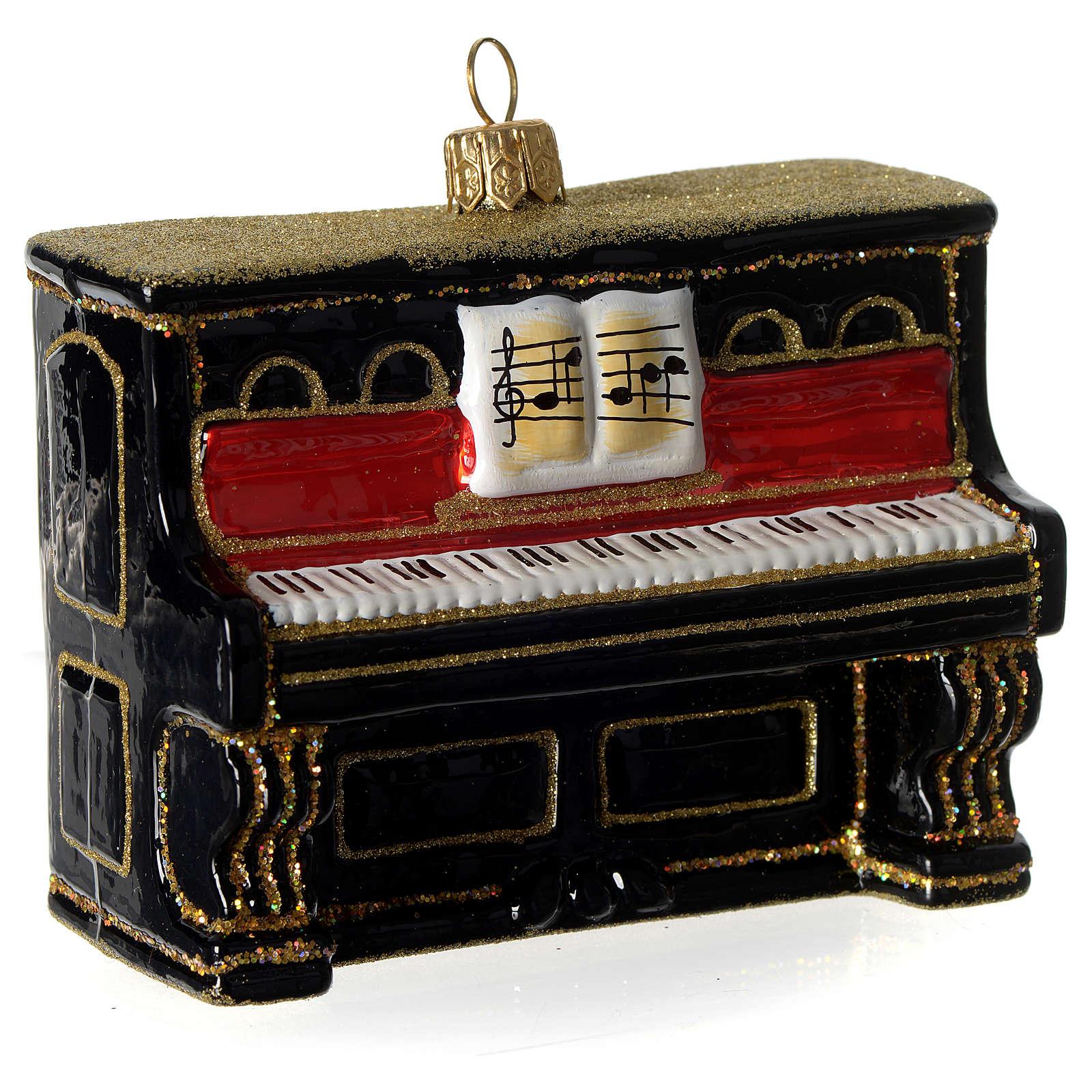 Piano adorno em vidro soprado para árvore Natal 4