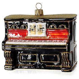 Piano adorno em vidro soprado para árvore Natal s1