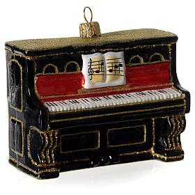 Piano adorno em vidro soprado para árvore Natal s2