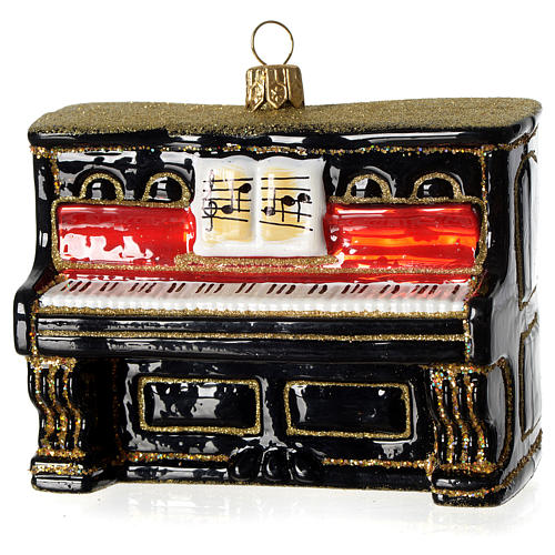 Piano adorno em vidro soprado para árvore Natal 1
