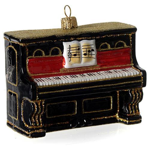 Piano adorno em vidro soprado para árvore Natal 2