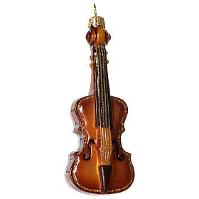 Violin, Christmas tree decoration in blown glass s1