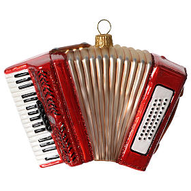 Accordion, Christmas tree decoration in blown glass s1