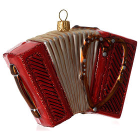 Accordion, Christmas tree decoration in blown glass s3