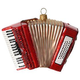 Fisarmonica addobbo vetro soffiato Albero Natale s1
