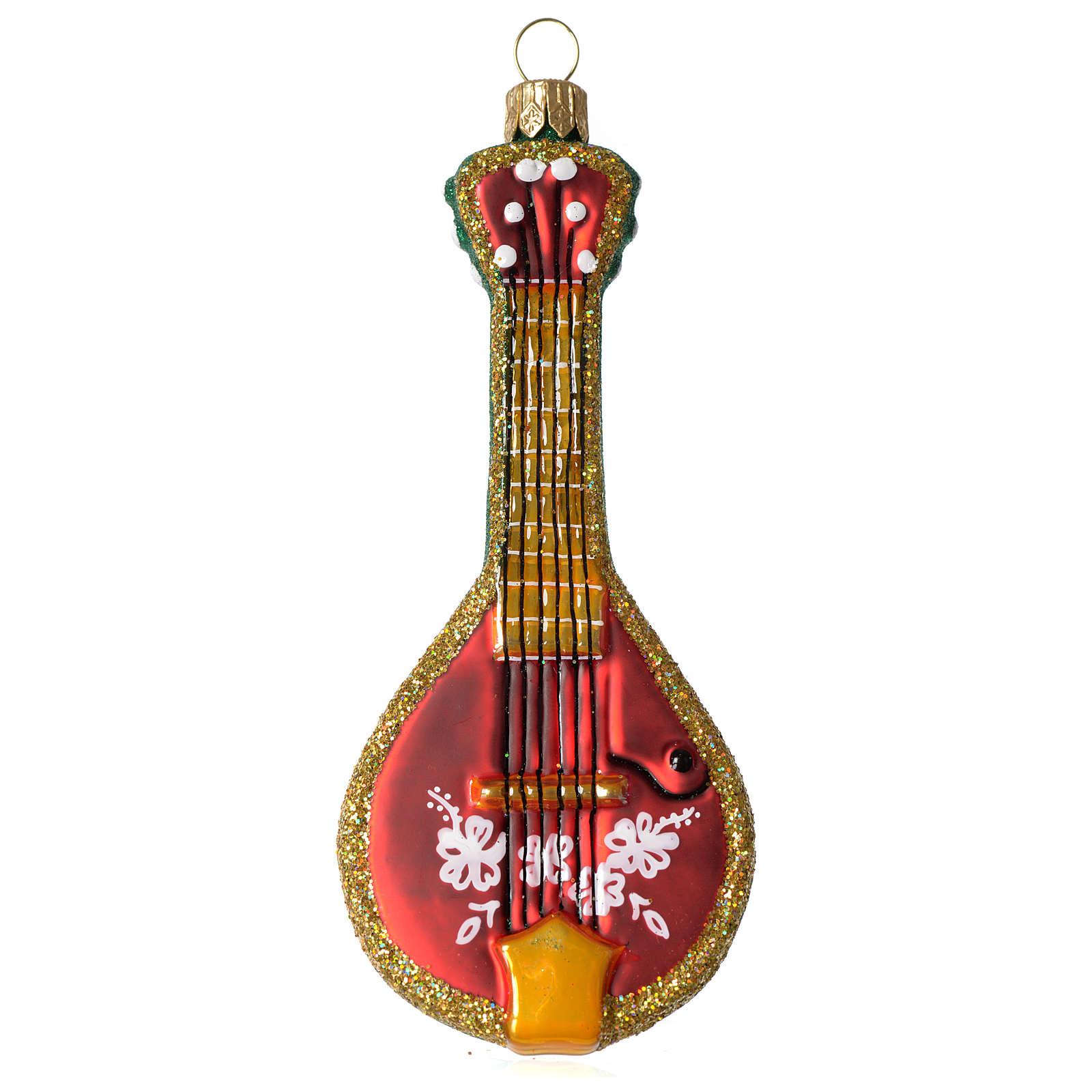 Mandolina Folk adorno vidrio soplado Árbol Navidad 4