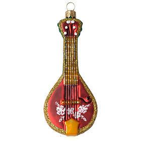 Folk Mandolin blown glass Christmas ornament s1