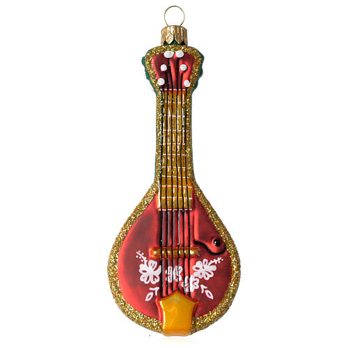 Folk Mandolin blown glass Christmas ornament 1