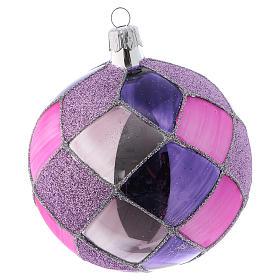 Bolitas de Navidad vidrio con rombos violeta fucsia 100 mm 4 piezas s2