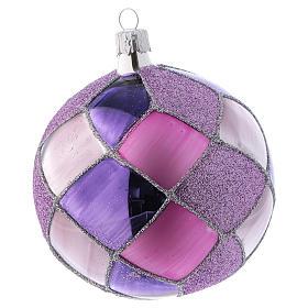 Bolitas de Navidad vidrio con rombos violeta fucsia 100 mm 4 piezas s3