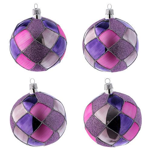 Bolitas de Navidad vidrio con rombos violeta fucsia 100 mm 4 piezas 1