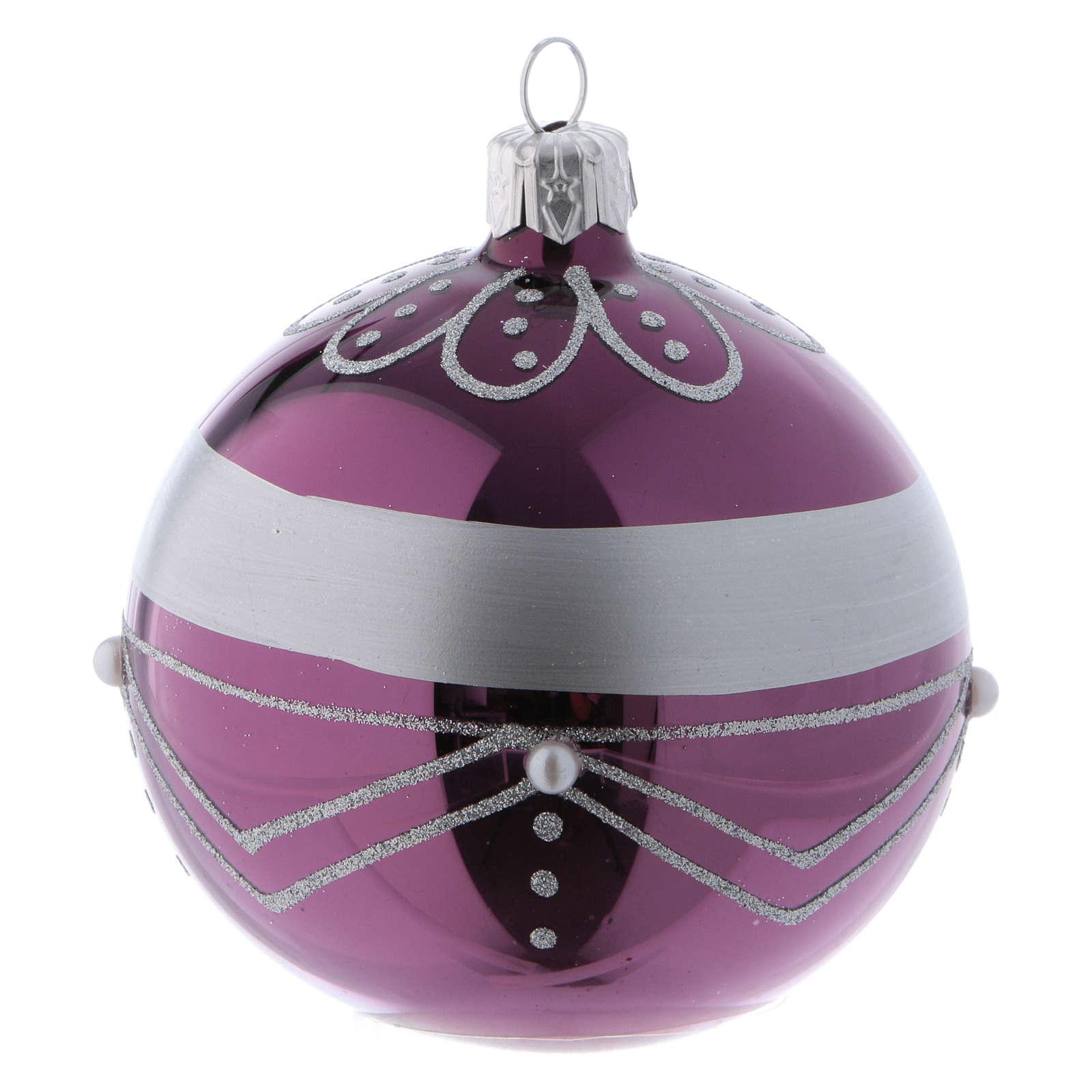 Bolitas Navidad vidrio violeta decoración plata 80 mm 6 piezas 4