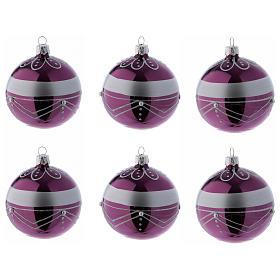 Bolitas Navidad vidrio violeta decoración plata 80 mm 6 piezas s1