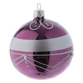 Bolitas Navidad vidrio violeta decoración plata 80 mm 6 piezas s3