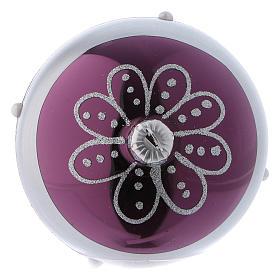 Bolitas Navidad vidrio violeta decoración plata 80 mm 6 piezas s4