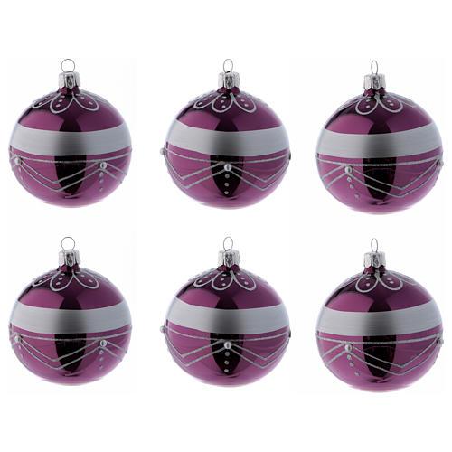 Bolitas Navidad vidrio violeta decoración plata 80 mm 6 piezas 1