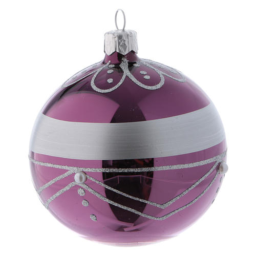 Bolitas Navidad vidrio violeta decoración plata 80 mm 6 piezas 3