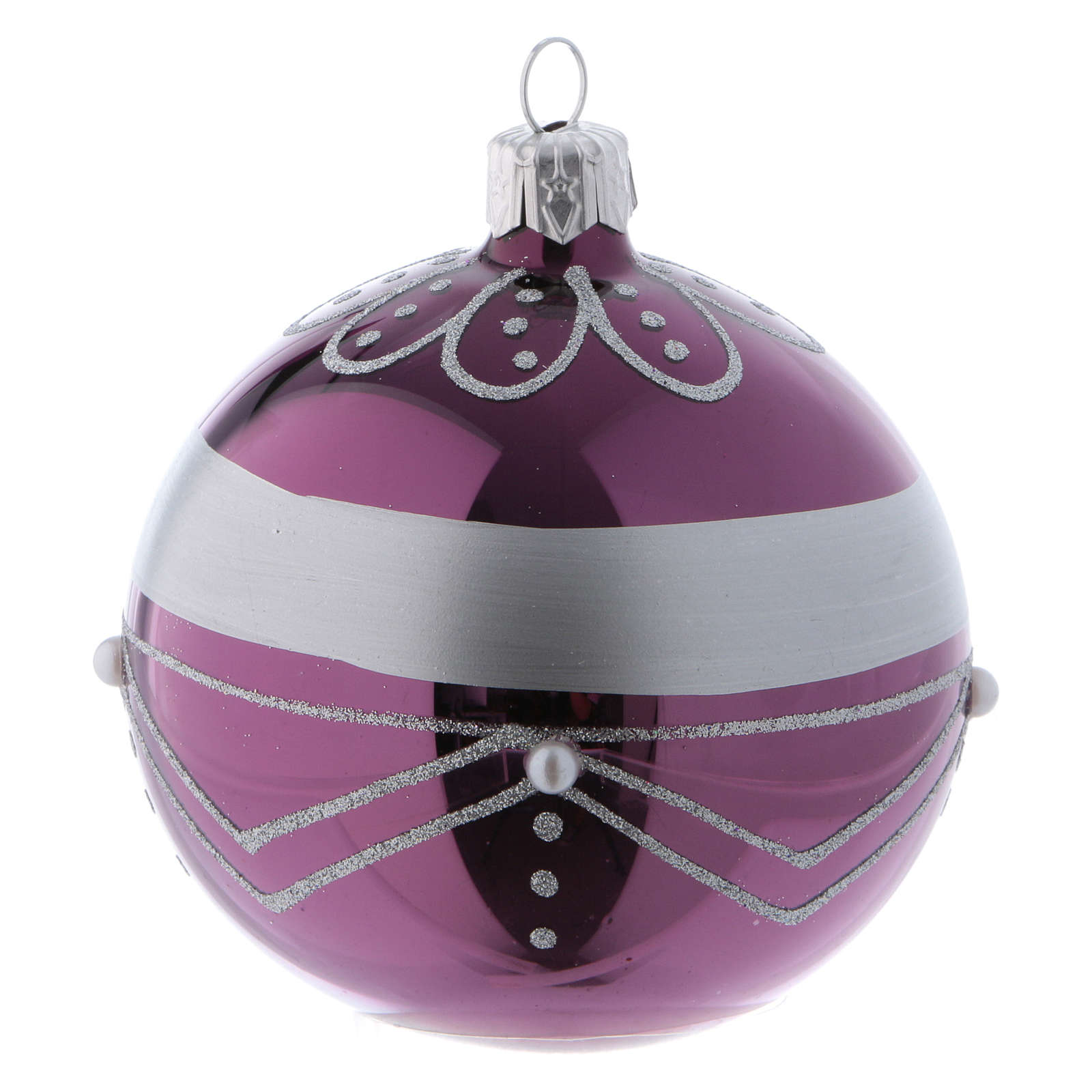 purple lown glass christmas balls with silver design 8 cm 6 pcs 4 - Glass Christmas Balls