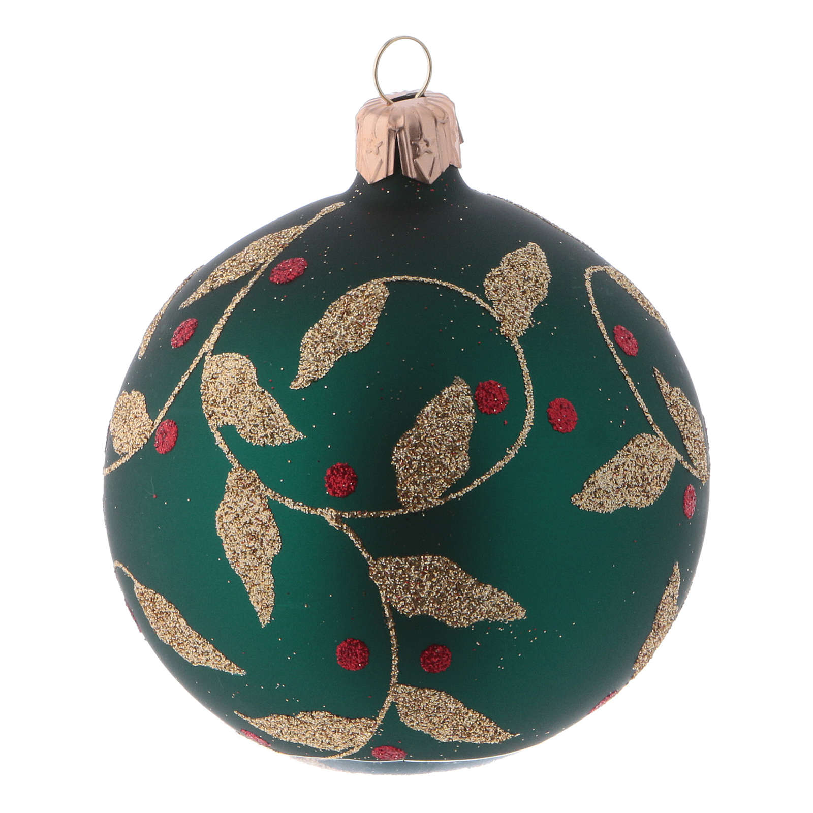 Blown glass Christmas balls 8 cm, green with gold leaves design, 6 pcs 4