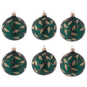 Blown glass Christmas balls 8 cm, green with gold leaves design, 6 pcs s1