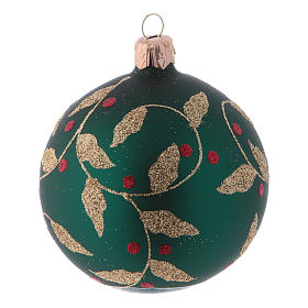 Blown glass Christmas balls 8 cm, green with gold leaves design, 6 pcs s3
