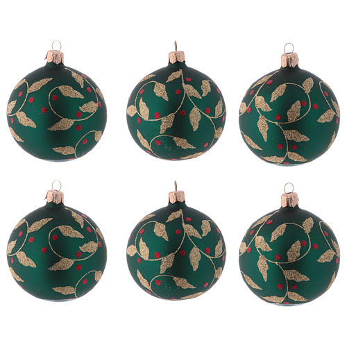 Blown glass Christmas balls 8 cm, green with gold leaves design, 6 pcs 1