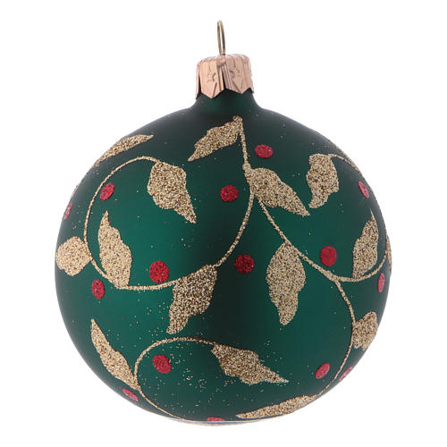 Blown glass Christmas balls 8 cm, green with gold leaves design, 6 pcs 2